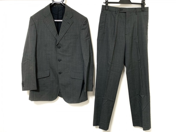 コムサデモードメン シングルスーツ サイズ1 S メンズ ダークグレー×ライトブルー