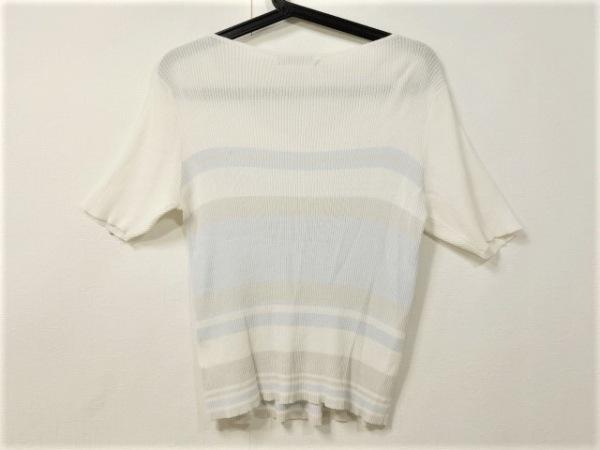 ティアクラッセ 半袖セーター サイズM レディース美品  白×グレー×ライトブルー
