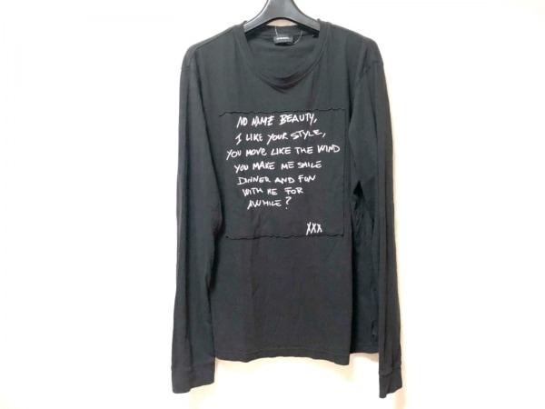 DIESEL(ディーゼル) 長袖Tシャツ サイズL レディース 黒×アイボリー
