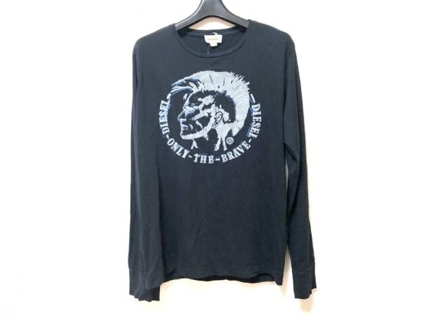 DIESEL(ディーゼル) 長袖Tシャツ サイズL レディース ダークネイビー×グレー×ブルー
