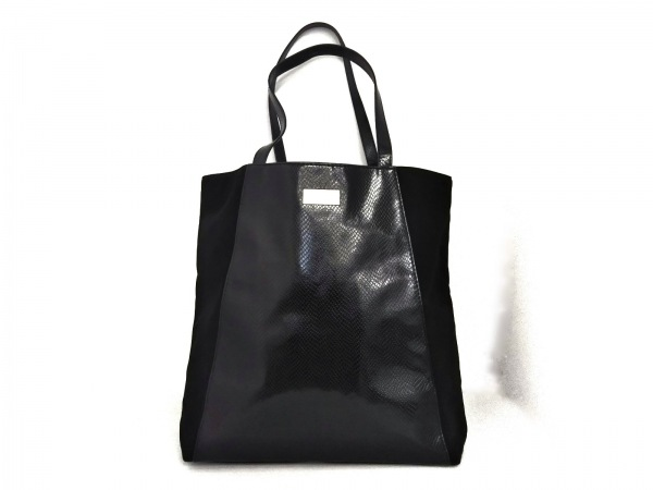 ジミーチュウ トートバッグ - 黒 PARFUMS/型押し加工 ポリウレタン×エナメル(合皮)