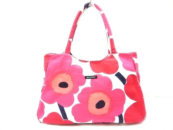 marimekko(マリメッコ) ショルダーバッグ ピンク×レッド×マルチ 花柄 キャンバス