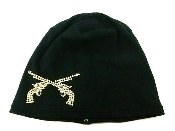 roar(ロアー) ニット帽 1 黒×ゴールド コットン×カシミヤ