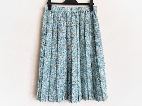 アマカ スカート サイズ38 M レディース美品  ライトブルー×イエロー×マルチ 花柄