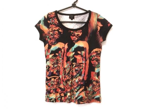 ゴルチエ 半袖Tシャツ サイズ40 M レディース 黒×オレンジ×マルチ FEMME