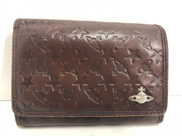ヴィヴィアンウエストウッド 2つ折り財布 ダークブラウン 型押し加工 レザー