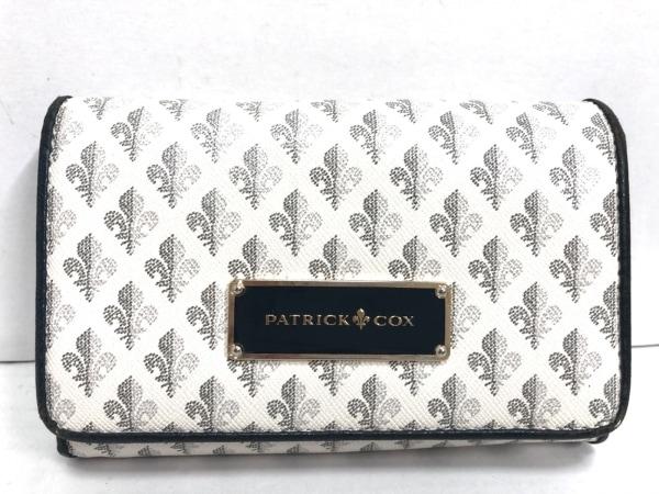 パトリックコックス 2つ折り財布 白×グレー×ネイビー PVC(塩化ビニール)×レザー