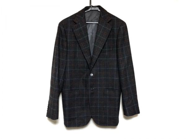 ソブリン ジャケット サイズ46 XL メンズ美品  ダークグレー×ダークブラウン