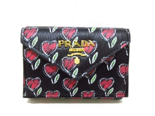 PRADA(プラダ) 3つ折り財布美品  - 1MH021 黒×レッド×マルチ レザー