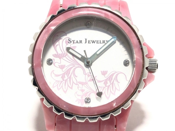 STAR JEWELRY(スタージュエリー) 腕時計 - レディース 白×ピンク