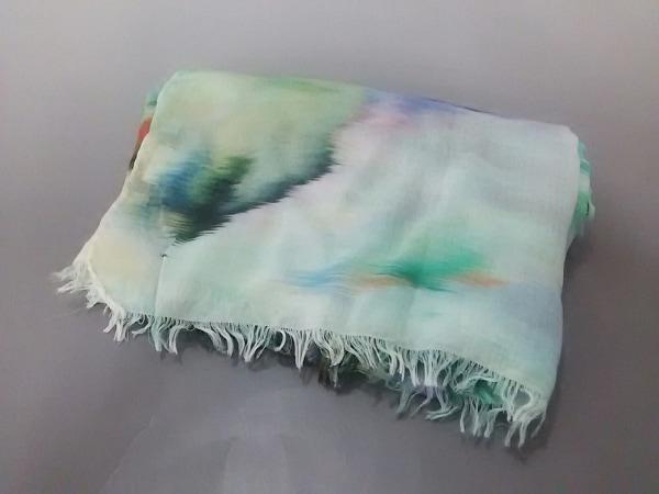 PaulSmith(ポールスミス) ストール(ショール)美品  白×グリーン×マルチ シースルー