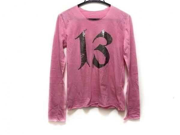 ルシアンペラフィネ 長袖カットソー サイズS レディース美品  ピンク×シルバー
