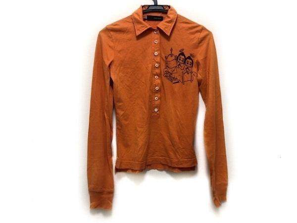 ディースクエアード 長袖ポロシャツ サイズXS レディース オレンジ×ブラウン