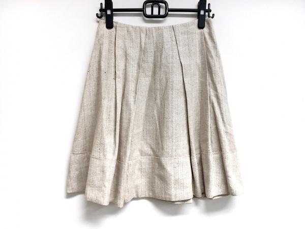 マウリツィオペコラーロ スカート サイズ6USA レディース ベージュ プリーツ/シルク