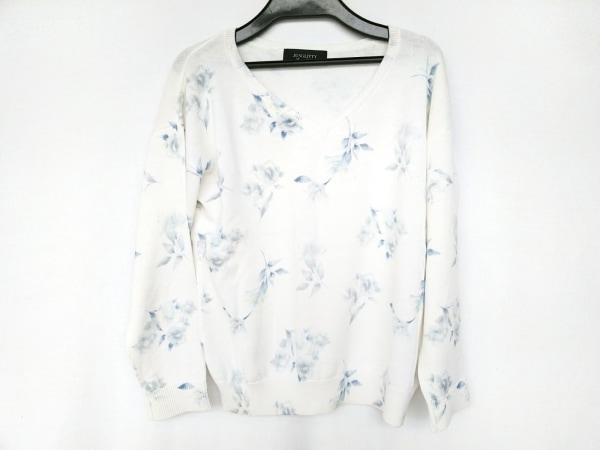ジャスグリッティー 長袖セーター サイズ2 M レディース 白×ブルー×イエロー 花柄