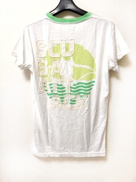 DIESEL(ディーゼル) 半袖Tシャツ サイズS メンズ 白×ライトグリーン×アイボリー