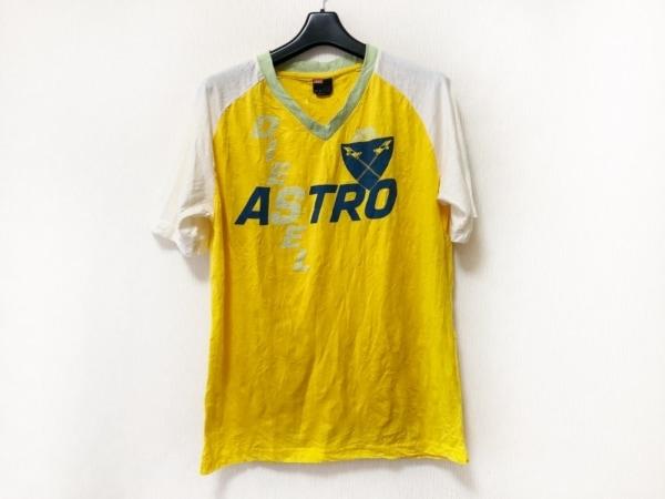 DIESEL(ディーゼル) 半袖Tシャツ サイズM メンズ イエロー×白×マルチ
