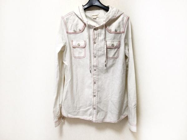 DIESEL(ディーゼル) 長袖シャツ サイズS メンズ 白×レッド