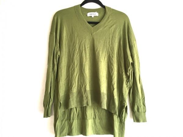 ENFOLD(エンフォルド) 長袖セーター サイズ36 S レディース美品  グリーン Vネック