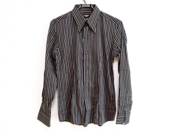 TORNADO MART(トルネードマート) 長袖シャツ サイズL メンズ美品  黒×白 ストライプ