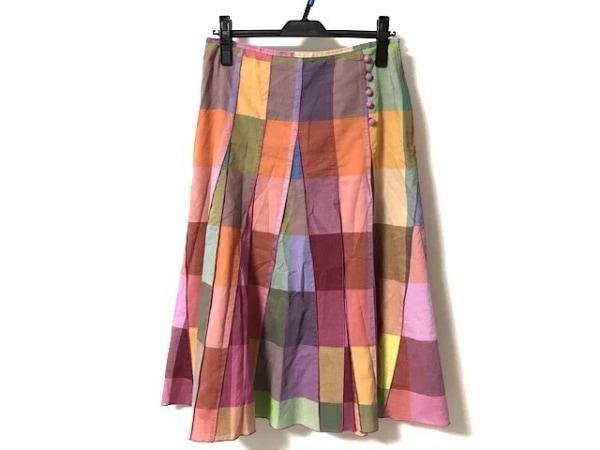 ソニアリキエル スカート サイズ42 L レディース美品  オレンジ×ピンク×マルチ