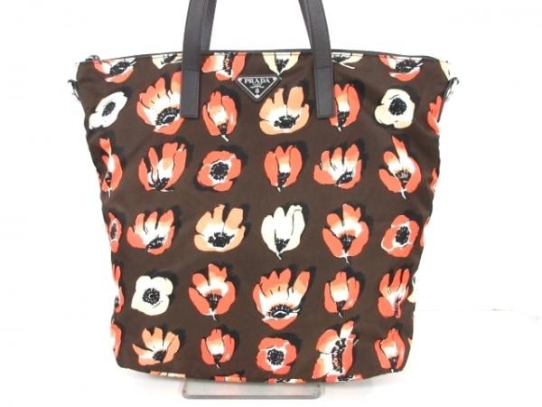 PRADA(プラダ) ハンドバッグ - B4696F ダークブラウン×オレンジ×アイボリー 花柄
