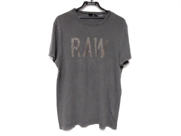 G-STAR RAW(ジースターロゥ) 半袖Tシャツ サイズM メンズ ダークグレー×ベージュ