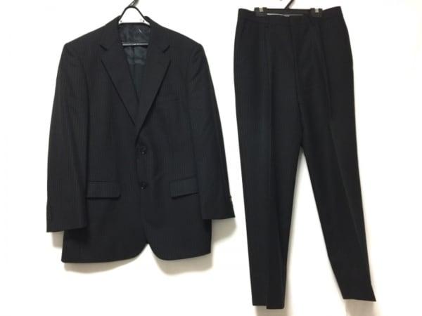 SAVILE ROW(サヴィルロウ) シングルスーツ メンズ 黒×ネイビー ストライプ/肩パッド