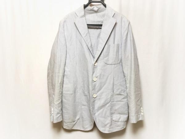 ORIAN(オリアン) ジャケット サイズ40 M メンズ 白×ネイビー ストライプ