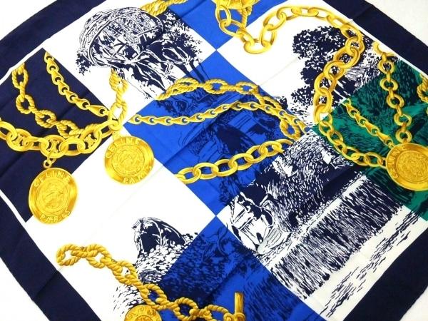 CELINE(セリーヌ) スカーフ美品  ネイビー×白×マルチ