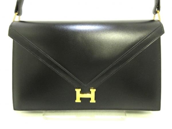 HERMES(エルメス) ショルダーバッグ リディ 黒 ゴールド金具 ボックスカーフ