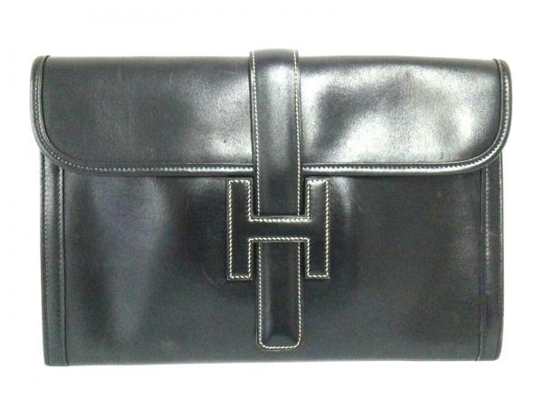 HERMES(エルメス) クラッチバッグ ジジェPM 黒 ボックスカーフ