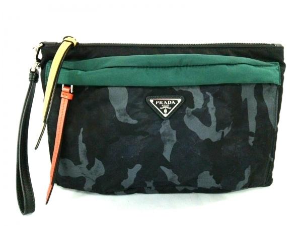 PRADA(プラダ) クラッチバッグ美品  - 黒×グリーン×ライトグレー 迷彩柄 ナイロン