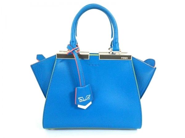 フェンディ ハンドバッグ美品  プチトロワジュール 8BH333-5C3 ブルー×マルチ レザー