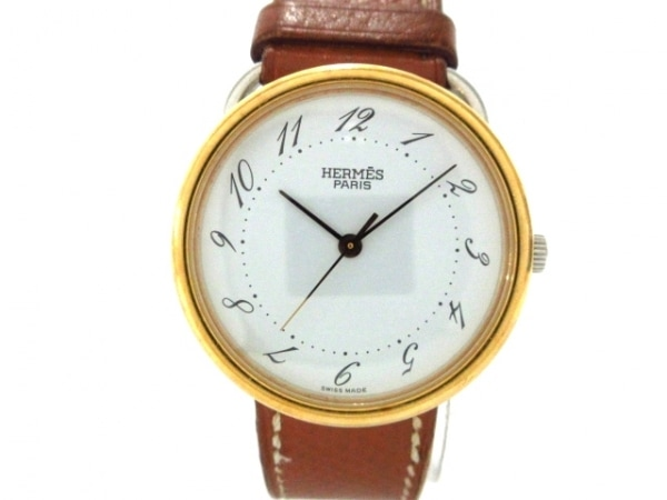 HERMES(エルメス) 腕時計 アルソー AR3.520 レディース 革ベルト/○Z 白