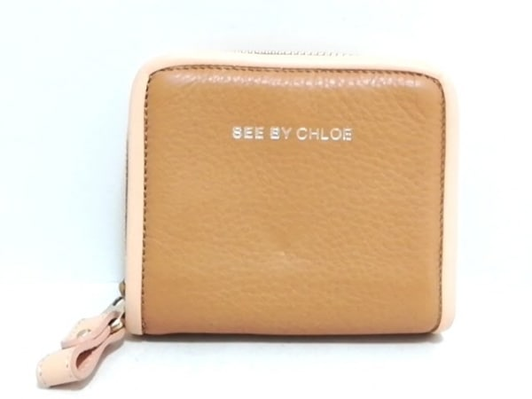 SEE BY CHLOE(シーバイクロエ) 2つ折り財布美品  ライトブラウン×ベージュ レザー