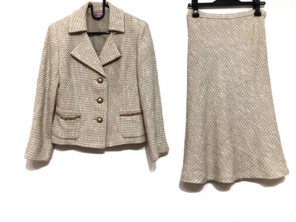 YUKITORII(ユキトリイ) スカートスーツ サイズ38 M レディース ベージュ ツイード