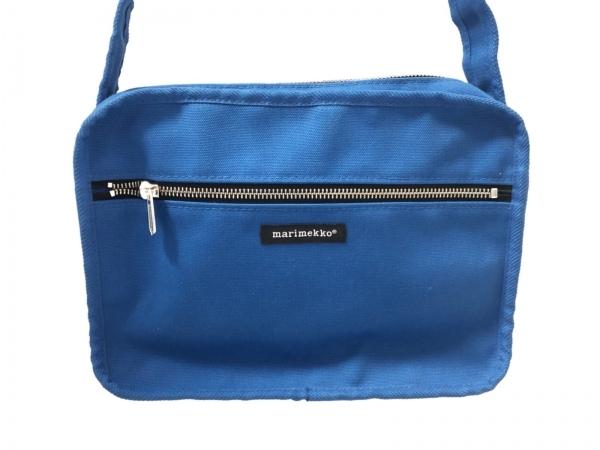 marimekko(マリメッコ) ショルダーバッグ美品  ブルー キャンバス