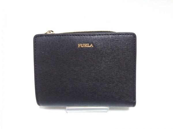 FURLA(フルラ) 2つ折り財布 黒 L字ファスナー レザー