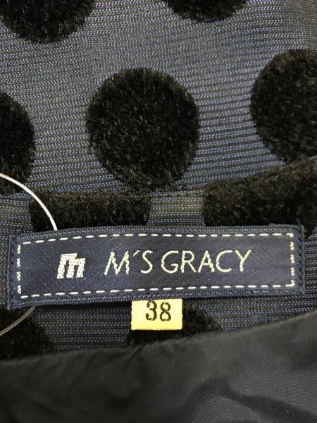 エムズグレイシー ワンピース サイズ38 M レディース ダークネイビー×黒 ドット柄