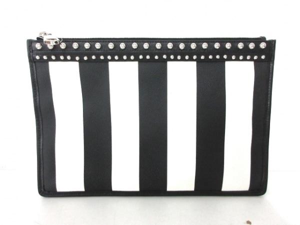 ジバンシー クラッチバッグ - 黒×白 スタッズ/ストライプ PVC(塩化ビニール)×レザー