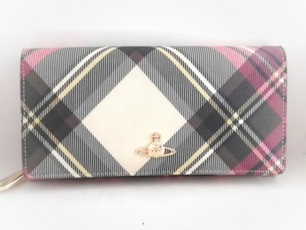 ヴィヴィアンウエストウッド 長財布 アイボリー×黒×マルチ チェック柄 レザー