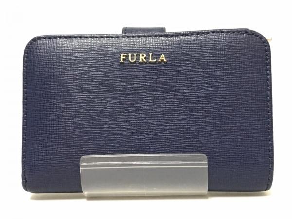 FURLA(フルラ) 2つ折り財布 ネイビー レザー