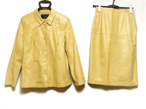 Leilian(レリアン) スカートスーツ サイズ9 M レディース イエロー レザー