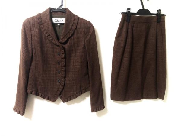 Chloe(クロエ) スカートスーツ サイズ40 M レディース美品  ブラウン×黒 フリル