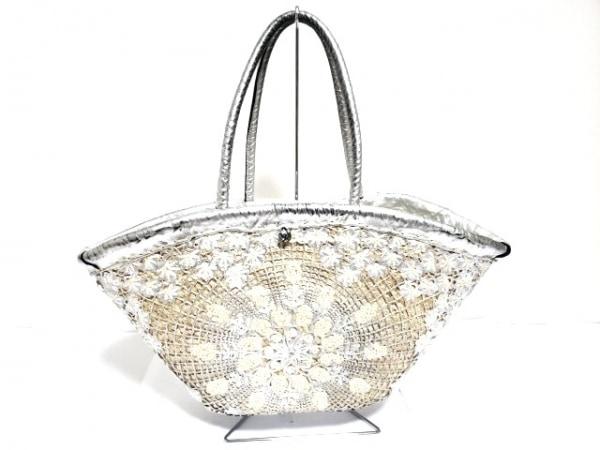 ENSHALLA(エンシャーラ) トートバッグ美品  アイボリー×シルバー×白 かごバッグ