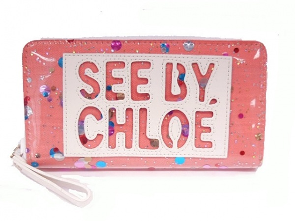 SEE BY CHLOE(シーバイクロエ) 長財布美品  ピンク×白×マルチ