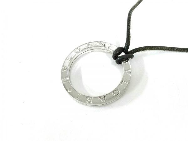 BVLGARI(ブルガリ) ネックレス美品  ブルガリブルガリ シルバー×レザー 黒