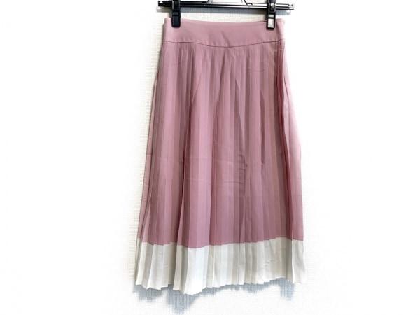 ジルサンダー スカート サイズ36 S レディース美品  ピンク×白 プリーツ/NAVY