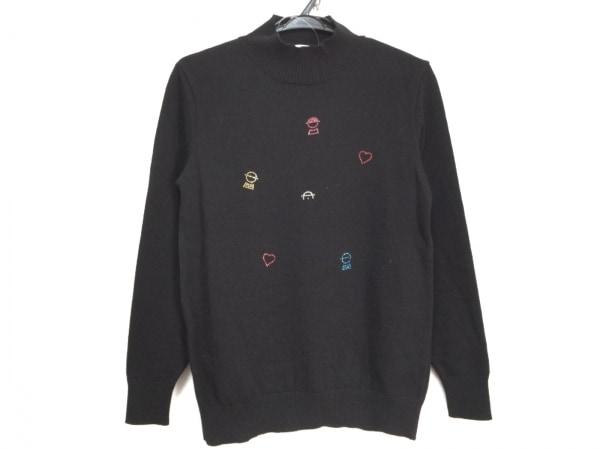 ピッコーネ 長袖セーター サイズ38 S レディース美品  黒 ラインストーン/ハイネック